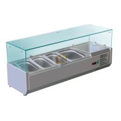 Vitrine à ingrédients vitrée 10 bacs GN1/4 Prof. 335mm L2000mm