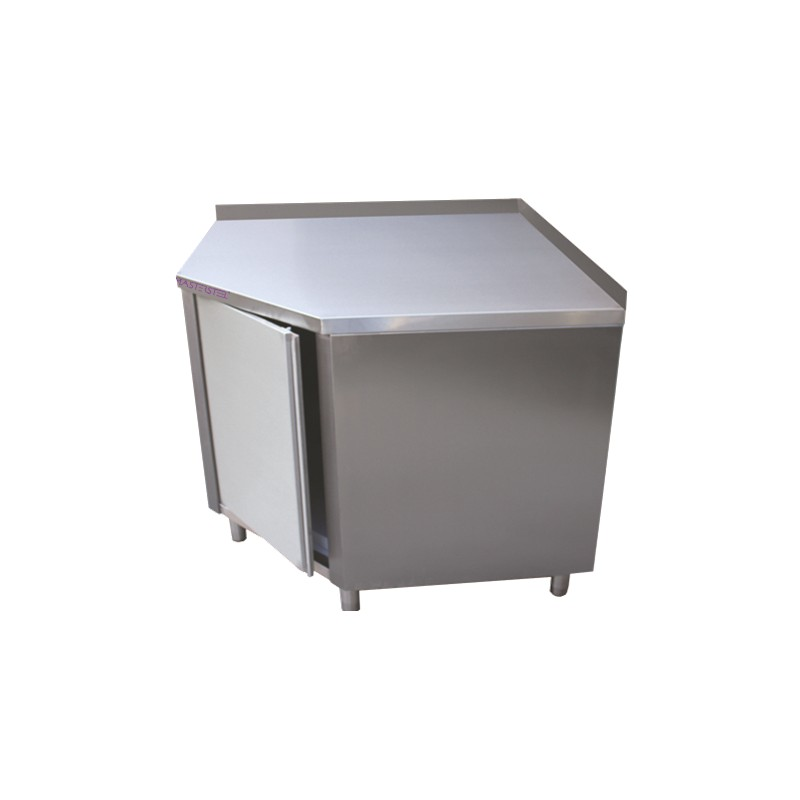 Meubles bas inox d 39 angle avec dosseret 2 meubles bas en inox cuisine scolaire