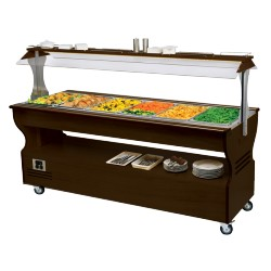 Buffet mixte chaud/froid central mobile - 6xGN1/1