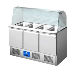 Saladette réfrigérée vitrée 3 portes sur groupe prof. 700