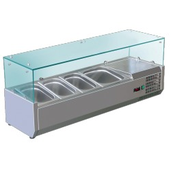 Vitrine à ingrédients vitrée bacs 3xGN1/3+1xGN1/2 Prof. 395mm L1200mm