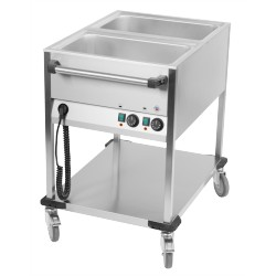 Chariot bain marie 2 cuves GN 1/1 Face