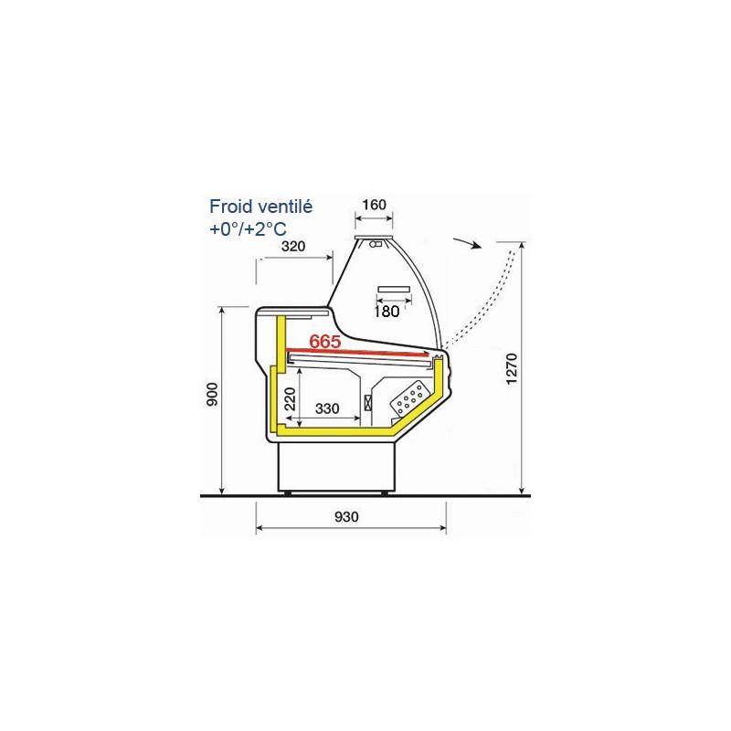 comptoir refrigere vitre bombee l1000mm froid ventil 0. Black Bedroom Furniture Sets. Home Design Ideas