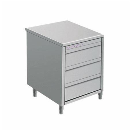 meuble inox 3 tiroirs prof600